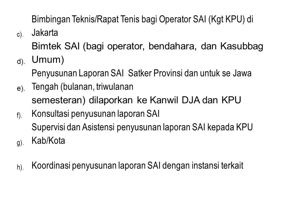 c). Bimbingan Teknis/Rapat Tenis bagi Operator SAI (Kgt KPU) di Jakarta d). Bimtek SAI (bagi operator, bendahara, dan Kasubbag Umum) e). Penyusunan La