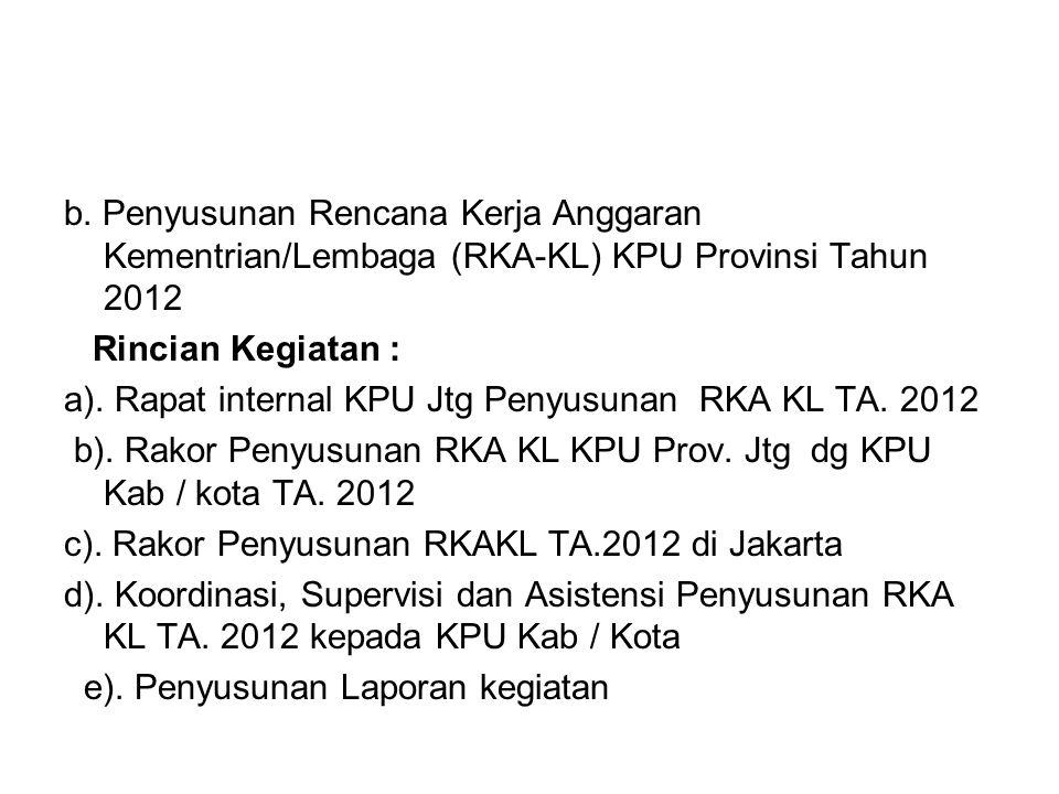 b. Penyusunan Rencana Kerja Anggaran Kementrian/Lembaga (RKA-KL) KPU Provinsi Tahun 2012 Rincian Kegiatan : a). Rapat internal KPU Jtg Penyusunan RKA