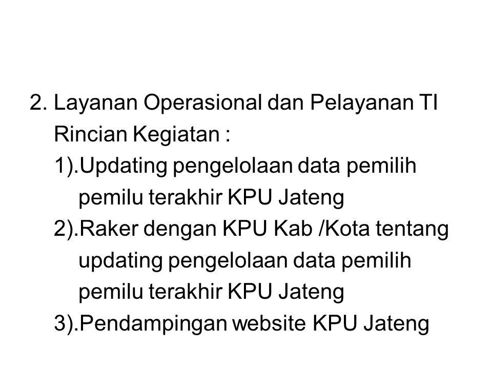 2. Layanan Operasional dan Pelayanan TI Rincian Kegiatan : 1).Updating pengelolaan data pemilih pemilu terakhir KPU Jateng 2).Raker dengan KPU Kab /Ko