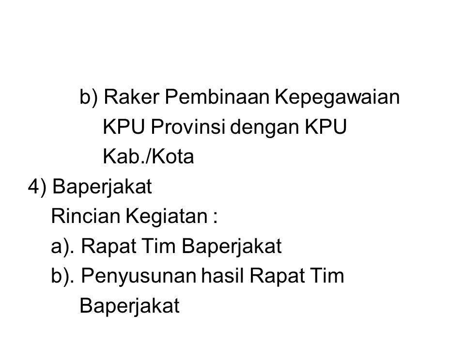 b) Raker Pembinaan Kepegawaian KPU Provinsi dengan KPU Kab./Kota 4) Baperjakat Rincian Kegiatan : a). Rapat Tim Baperjakat b). Penyusunan hasil Rapat