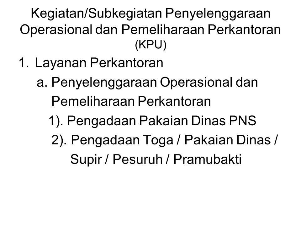 Kegiatan/Subkegiatan Penyelenggaraan Operasional dan Pemeliharaan Perkantoran (KPU) 1.Layanan Perkantoran a. Penyelenggaraan Operasional dan Pemelihar