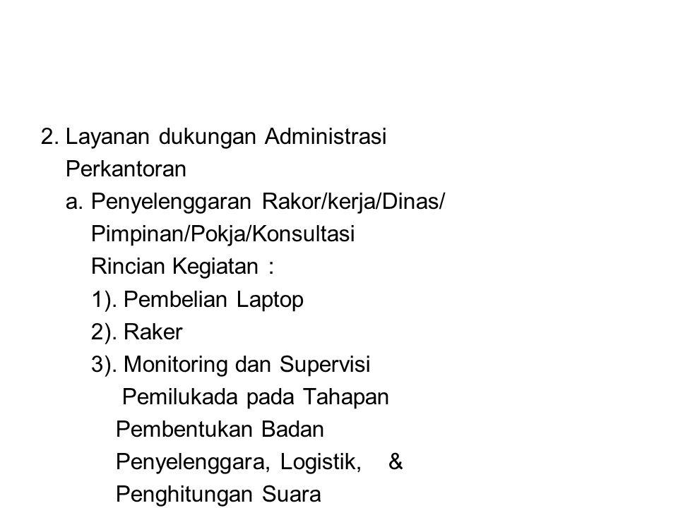 2. Layanan dukungan Administrasi Perkantoran a. Penyelenggaran Rakor/kerja/Dinas/ Pimpinan/Pokja/Konsultasi Rincian Kegiatan : 1). Pembelian Laptop 2)