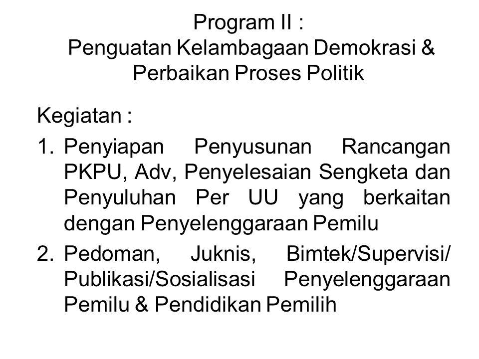Program II : Penguatan Kelambagaan Demokrasi & Perbaikan Proses Politik Kegiatan : 1.Penyiapan Penyusunan Rancangan PKPU, Adv, Penyelesaian Sengketa d
