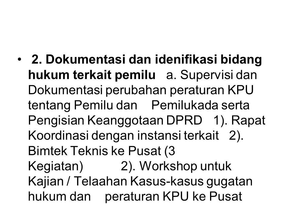 2. Dokumentasi dan idenifikasi bidang hukum terkait pemilu a. Supervisi dan Dokumentasi perubahan peraturan KPU tentang Pemilu dan Pemilukada serta Pe