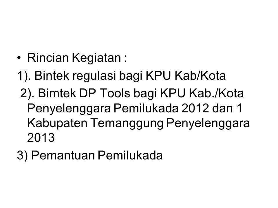 Rincian Kegiatan : 1). Bintek regulasi bagi KPU Kab/Kota 2). Bimtek DP Tools bagi KPU Kab./Kota Penyelenggara Pemilukada 2012 dan 1 Kabupaten Temanggu