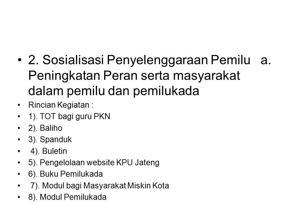 2. Sosialisasi Penyelenggaraan Pemilu a. Peningkatan Peran serta masyarakat dalam pemilu dan pemilukada Rincian Kegiatan : 1). TOT bagi guru PKN 2). B