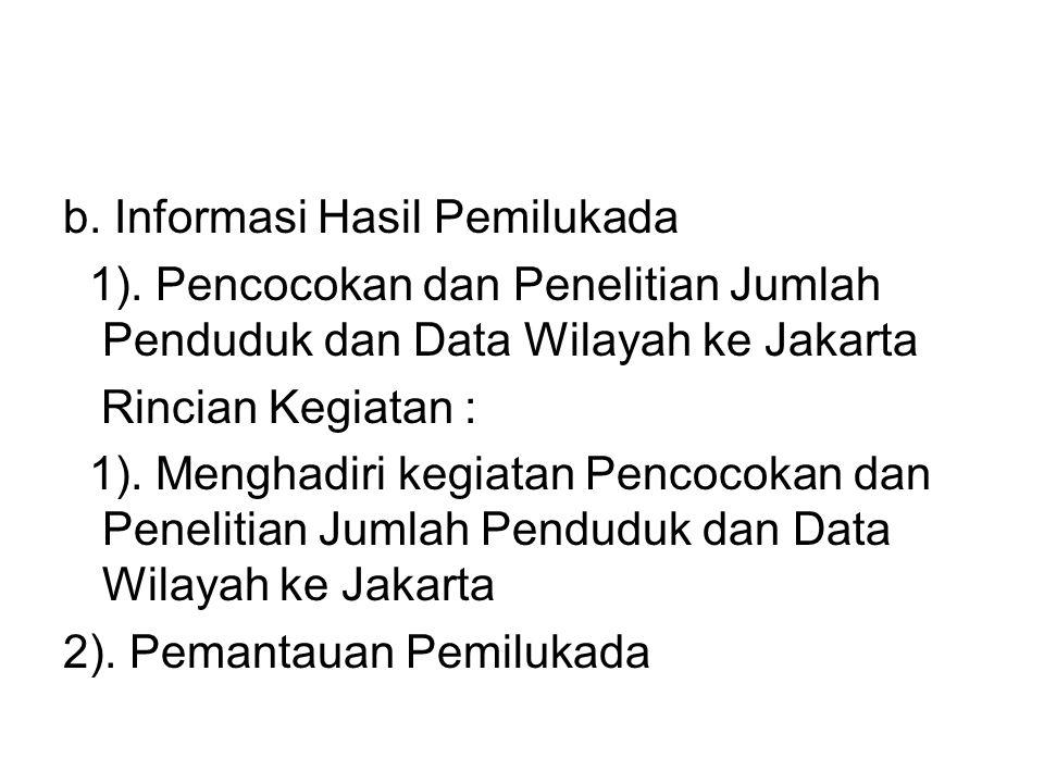 b. Informasi Hasil Pemilukada 1). Pencocokan dan Penelitian Jumlah Penduduk dan Data Wilayah ke Jakarta Rincian Kegiatan : 1). Menghadiri kegiatan Pen