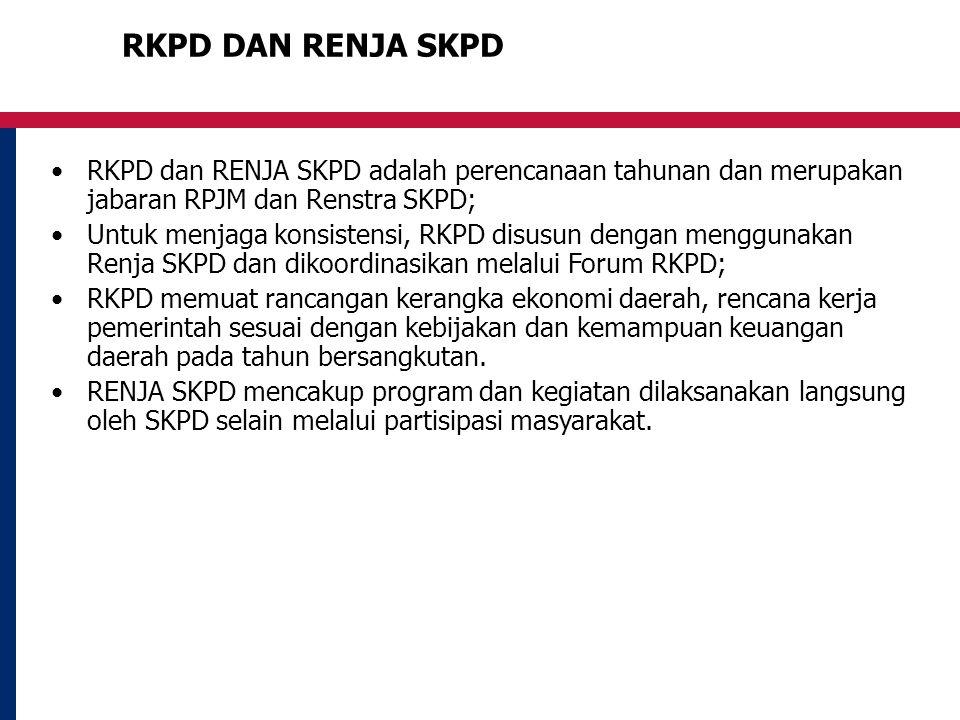 RKPD DAN RENJA SKPD RKPD dan RENJA SKPD adalah perencanaan tahunan dan merupakan jabaran RPJM dan Renstra SKPD; Untuk menjaga konsistensi, RKPD disusun dengan menggunakan Renja SKPD dan dikoordinasikan melalui Forum RKPD; RKPD memuat rancangan kerangka ekonomi daerah, rencana kerja pemerintah sesuai dengan kebijakan dan kemampuan keuangan daerah pada tahun bersangkutan.