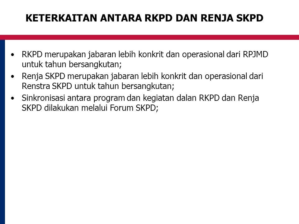 KETERKAITAN ANTARA RKPD DAN RENJA SKPD RKPD merupakan jabaran lebih konkrit dan operasional dari RPJMD untuk tahun bersangkutan; Renja SKPD merupakan jabaran lebih konkrit dan operasional dari Renstra SKPD untuk tahun bersangkutan; Sinkronisasi antara program dan kegiatan dalan RKPD dan Renja SKPD dilakukan melalui Forum SKPD;