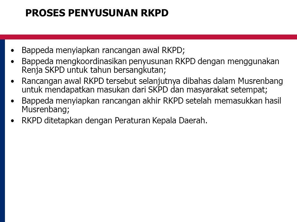 PROSES PENYUSUNAN RKPD Bappeda menyiapkan rancangan awal RKPD; Bappeda mengkoordinasikan penyusunan RKPD dengan menggunakan Renja SKPD untuk tahun bersangkutan; Rancangan awal RKPD tersebut selanjutnya dibahas dalam Musrenbang untuk mendapatkan masukan dari SKPD dan masyarakat setempat; Bappeda menyiapkan rancangan akhir RKPD setelah memasukkan hasil Musrenbang; RKPD ditetapkan dengan Peraturan Kepala Daerah.