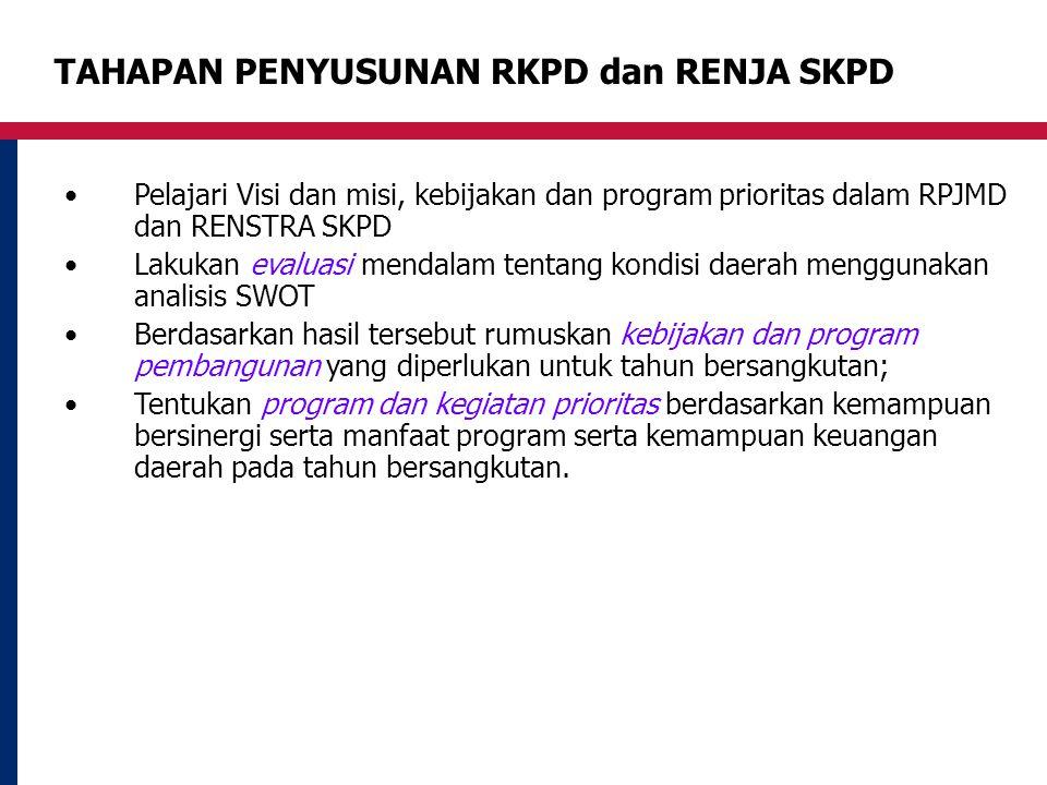 TAHAPAN PENYUSUNAN RKPD dan RENJA SKPD Pelajari Visi dan misi, kebijakan dan program prioritas dalam RPJMD dan RENSTRA SKPD Lakukan evaluasi mendalam