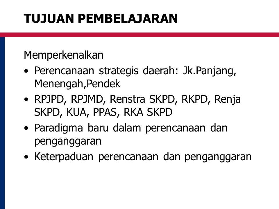TUJUAN PEMBELAJARAN Memperkenalkan Perencanaan strategis daerah: Jk.Panjang, Menengah,Pendek RPJPD, RPJMD, Renstra SKPD, RKPD, Renja SKPD, KUA, PPAS,