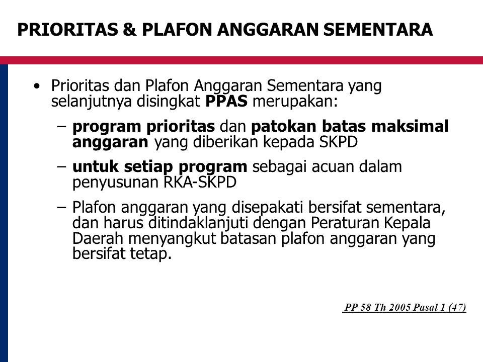 PRIORITAS & PLAFON ANGGARAN SEMENTARA Prioritas dan Plafon Anggaran Sementara yang selanjutnya disingkat PPAS merupakan: –program prioritas dan patoka