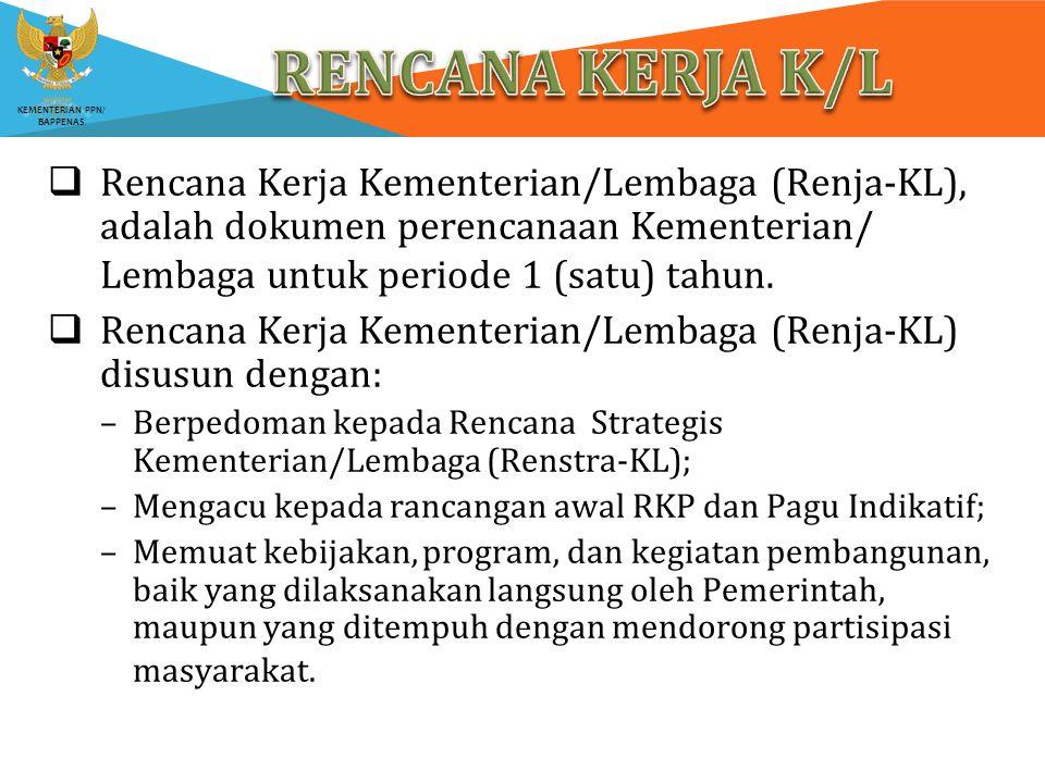 KEMENTERIAN PPN/ BAPPENAS  Rencana Kerja Kementerian/Lembaga (Renja-KL), adalah dokumen perencanaan Kementerian/ Lembaga untuk periode 1 (satu) tahun