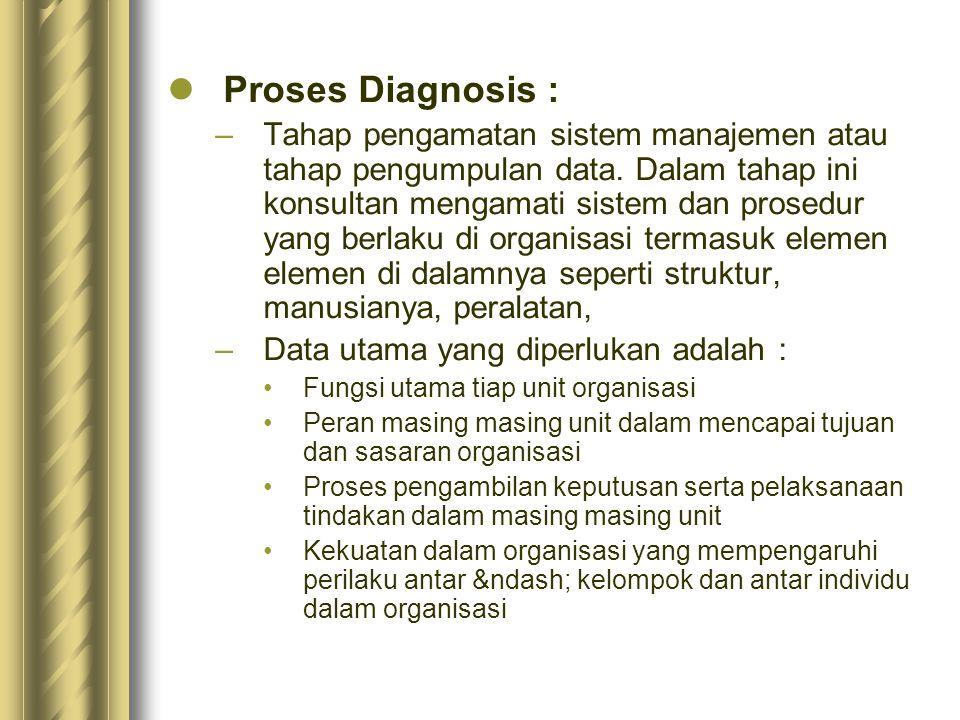 Proses Diagnosis : –Tahap pengamatan sistem manajemen atau tahap pengumpulan data.