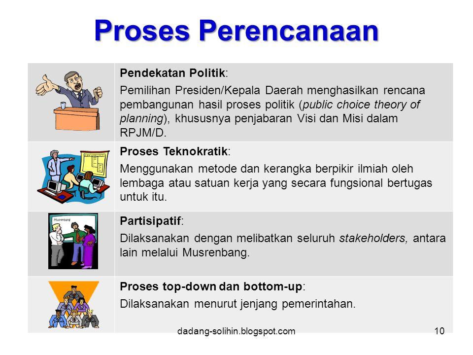 Proses Perencanaan Pendekatan Politik: Pemilihan Presiden/Kepala Daerah menghasilkan rencana pembangunan hasil proses politik (public choice theory of planning), khususnya penjabaran Visi dan Misi dalam RPJM/D.