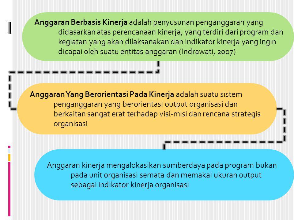 Anggaran Yang Berorientasi Pada Kinerja adalah suatu sistem penganggaran yang berorientasi output organisasi dan berkaitan sangat erat terhadap visi-misi dan rencana strategis organisasi Anggaran Berbasis Kinerja adalah penyusunan penganggaran yang didasarkan atas perencanaan kinerja, yang terdiri dari program dan kegiatan yang akan dilaksanakan dan indikator kinerja yang ingin dicapai oleh suatu entitas anggaran (Indrawati, 2007) Anggaran kinerja mengalokasikan sumberdaya pada program bukan pada unit organisasi semata dan memakai ukuran output sebagai indikator kinerja organisasi