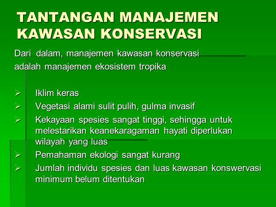TANTANGAN MANAJEMEN KAWASAN KONSERVASI Dari dalam, manajemen kawasan konservasi adalah manajemen ekosistem tropika  Iklim keras  Vegetasi alami suli