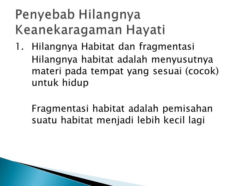 1.Hilangnya Habitat dan fragmentasi Hilangnya habitat adalah menyusutnya materi pada tempat yang sesuai (cocok) untuk hidup Fragmentasi habitat adalah