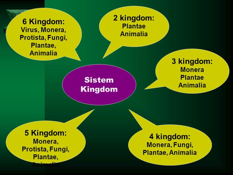 Sistem Kingdom 2 kingdom: Plantae Animalia 3 kingdom: Monera Plantae Animalia 4 kingdom: Monera, Fungi, Plantae, Animalia 5 Kingdom: Monera, Protista,