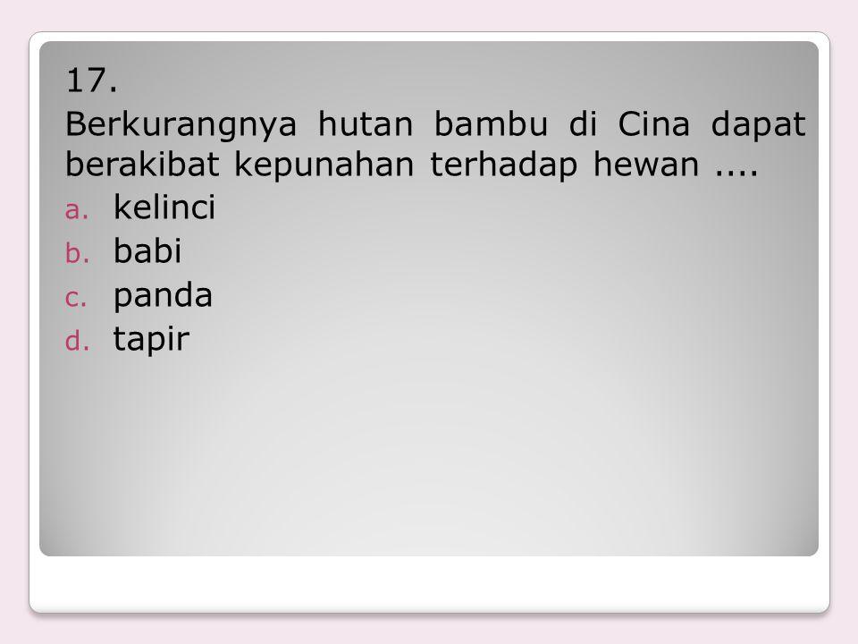16. Di Way Kambas di Lampung terdapat suaka terhadap hewan.... a. gajah b. badak c. orangutan d. harimau