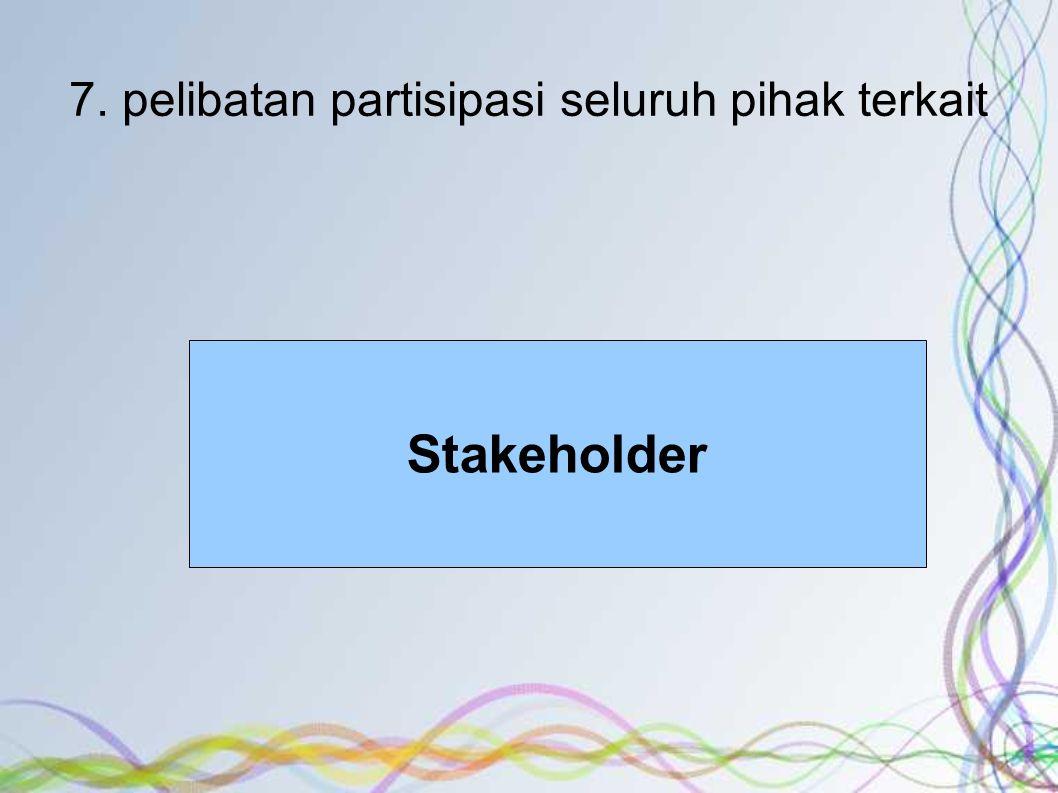 7. pelibatan partisipasi seluruh pihak terkait Stakeholder