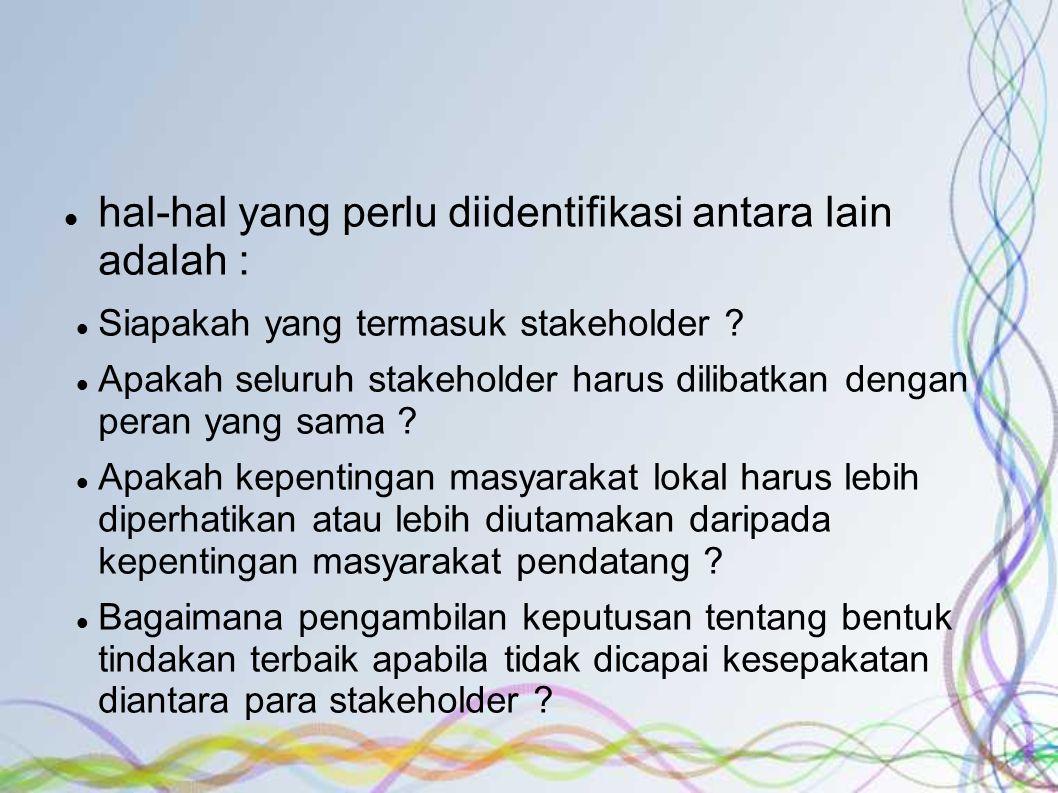 hal-hal yang perlu diidentifikasi antara lain adalah : Siapakah yang termasuk stakeholder .
