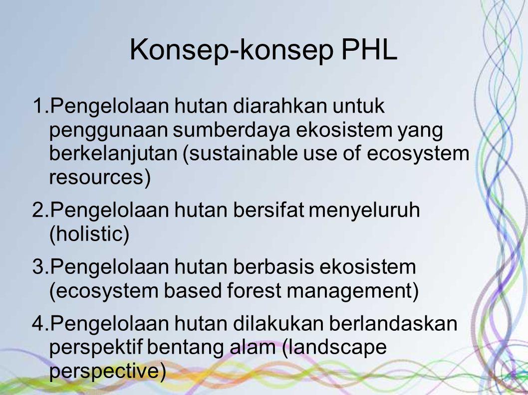Konsep-konsep PHL 1.Pengelolaan hutan diarahkan untuk penggunaan sumberdaya ekosistem yang berkelanjutan (sustainable use of ecosystem resources) 2.Pengelolaan hutan bersifat menyeluruh (holistic) 3.Pengelolaan hutan berbasis ekosistem (ecosystem based forest management) 4.Pengelolaan hutan dilakukan berlandaskan perspektif bentang alam (landscape perspective) 5.Pengelolaan hutan diarahkan pada pencapaian tujuan multikriteria (multiple objectives) 6.Pengelolaan hutan dilaksanakan dengan berlandaskan keterpaduan (integrated)