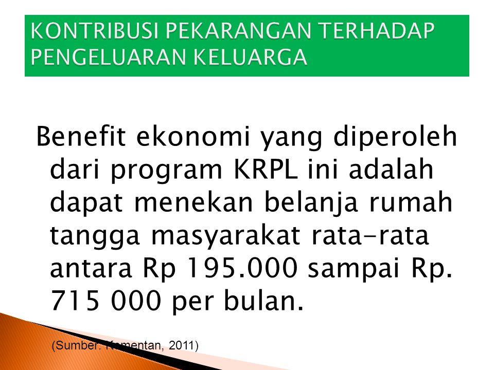 Benefit ekonomi yang diperoleh dari program KRPL ini adalah dapat menekan belanja rumah tangga masyarakat rata-rata antara Rp 195.000 sampai Rp. 715 0