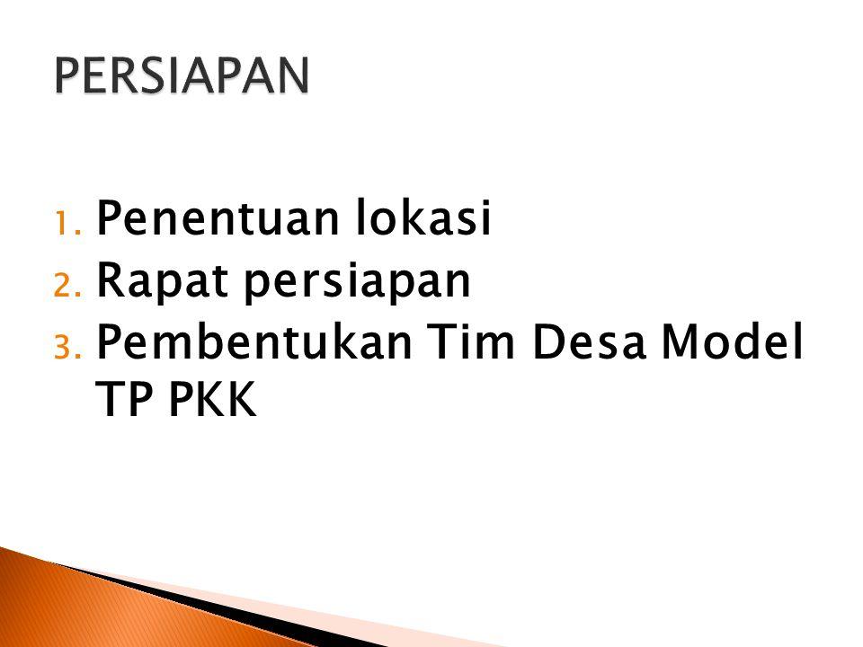 1. Penentuan lokasi 2. Rapat persiapan 3. Pembentukan Tim Desa Model TP PKK