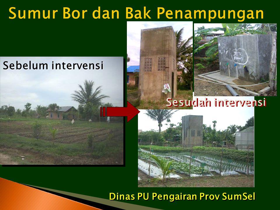 Sumur Bor dan Bak Penampungan Dinas PU Pengairan Prov SumSel Sebelum intervensi Sesudah intervensi