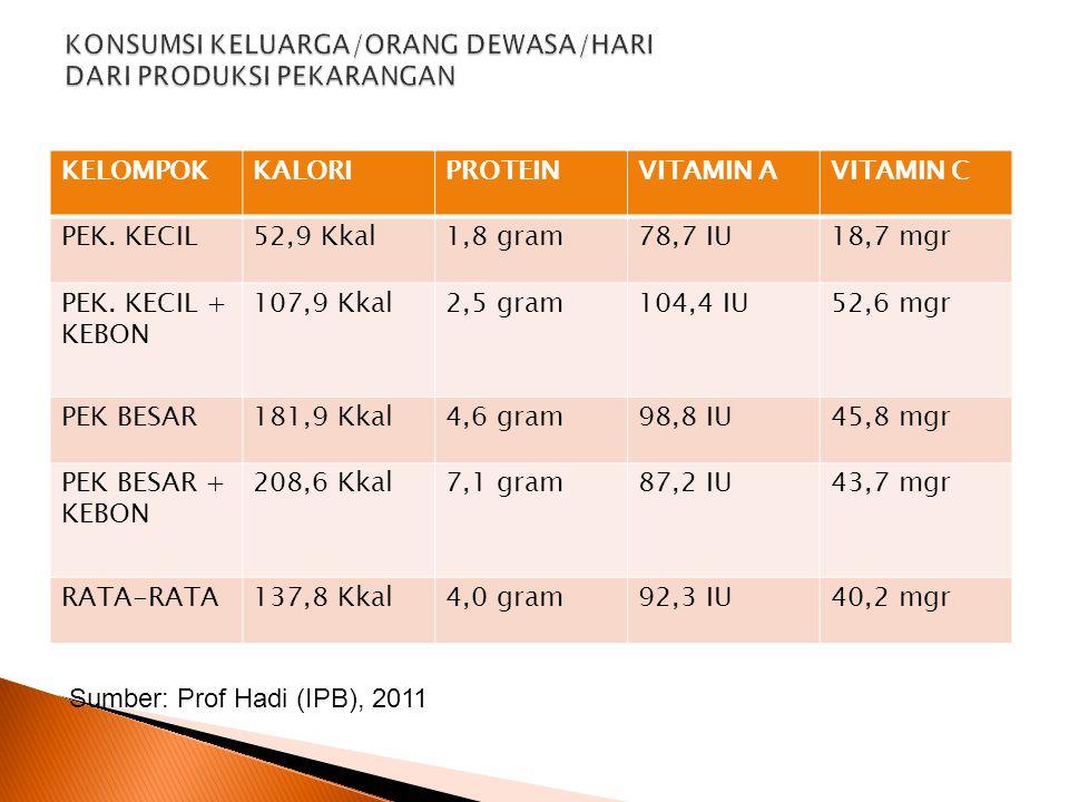 KELOMPOKKALORIPROTEINVITAMIN AVITAMIN C PEK. KECIL52,9 Kkal1,8 gram78,7 IU18,7 mgr PEK. KECIL + KEBON 107,9 Kkal2,5 gram104,4 IU52,6 mgr PEK BESAR181,