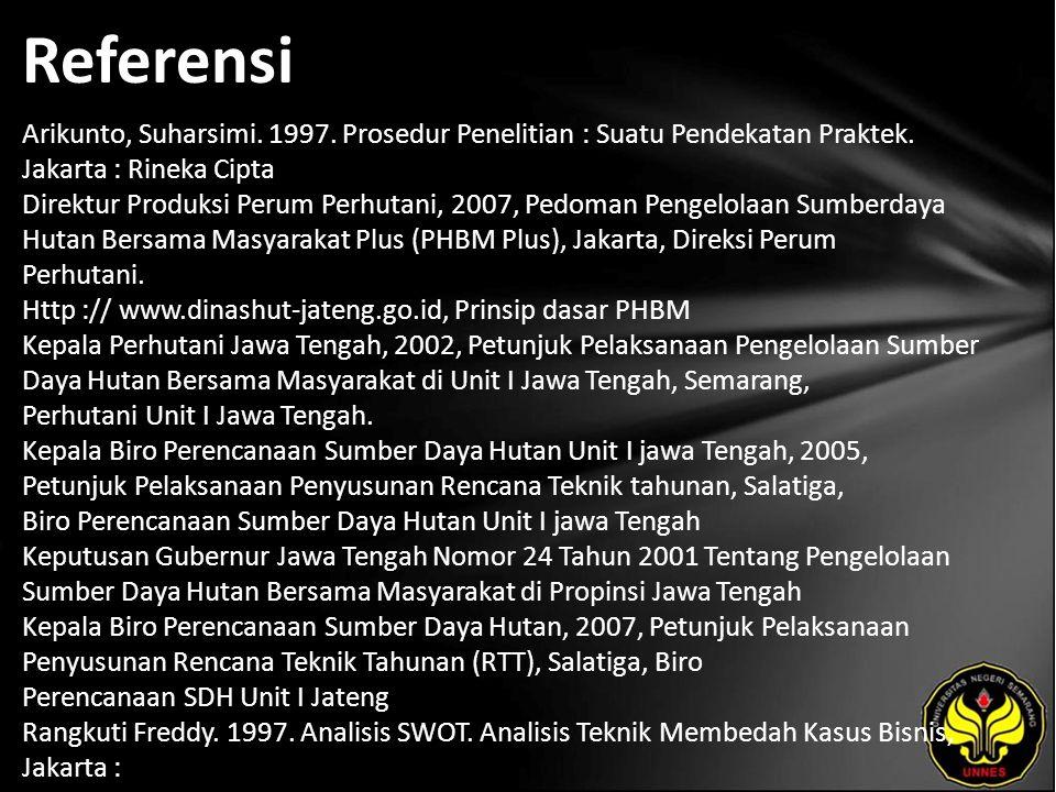 Referensi Arikunto, Suharsimi. 1997. Prosedur Penelitian : Suatu Pendekatan Praktek.