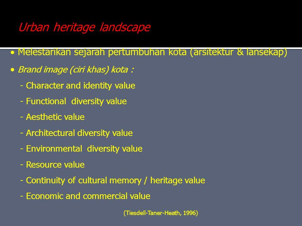  Melestarikan sejarah pertumbuhan kota (arsitektur & lansekap)  Brand image (ciri khas) kota : - Character and identity value - Functional diversity