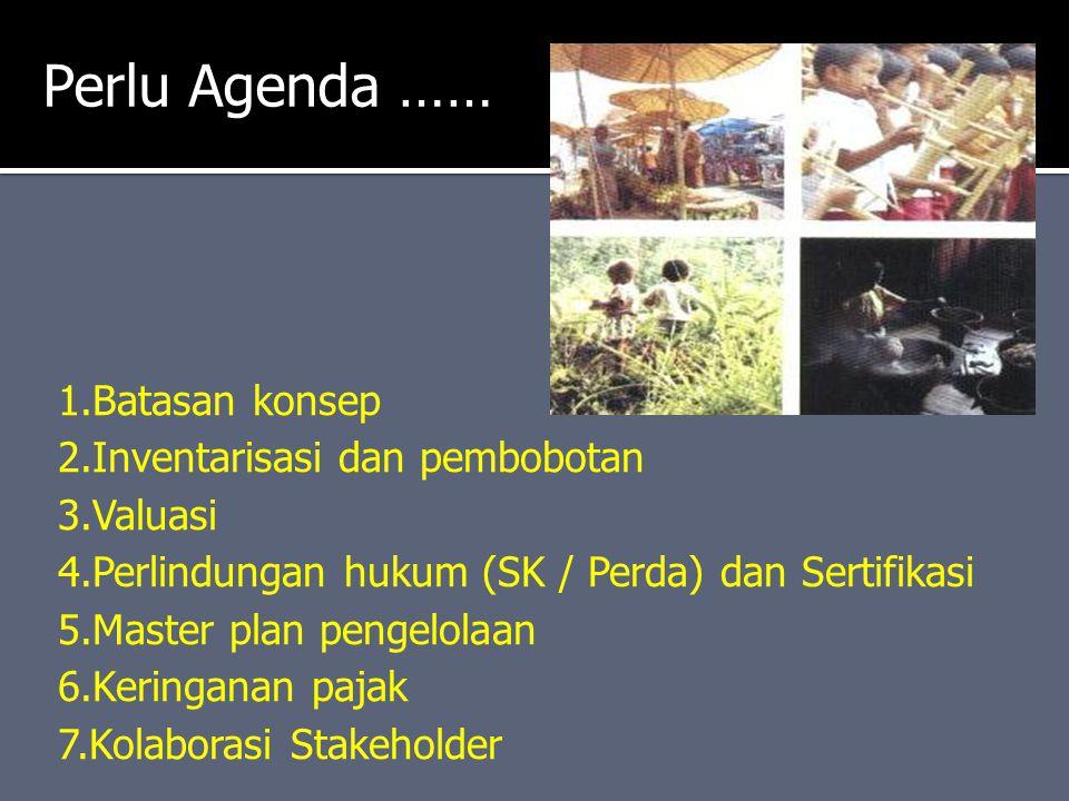 1.Batasan konsep 2.Inventarisasi dan pembobotan 3.Valuasi 4.Perlindungan hukum (SK / Perda) dan Sertifikasi 5.Master plan pengelolaan 6.Keringanan paj