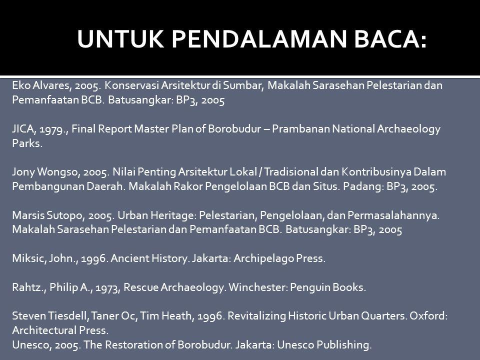 Eko Alvares, 2005. Konservasi Arsitektur di Sumbar, Makalah Sarasehan Pelestarian dan Pemanfaatan BCB. Batusangkar: BP3, 2005 JICA, 1979., Final Repor