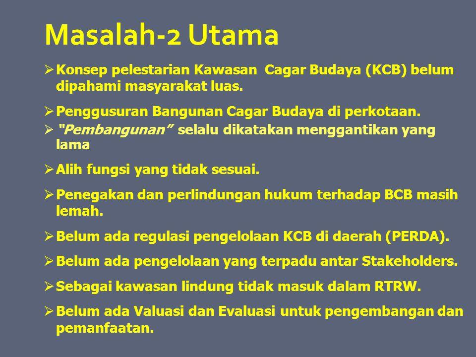 """Masalah-2 Utama  Konsep pelestarian Kawasan Cagar Budaya (KCB) belum dipahami masyarakat luas.  Penggusuran Bangunan Cagar Budaya di perkotaan.  """"P"""