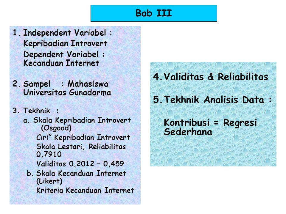 Bab IV  Persiapan : Kepribadian Introvert (40 item) Kecanduan Internet (50 item; 25 fav, 25 unfav)  Pelaksanaan : Tryout terpakai 1-3 September 2010 155 angket-3 tdk kembali - 5 tdk lengkap  Hasil : Skala Kepribadian Introvert 40 item 22 item valid reliabilitas 0,852 validitas 0,250 – 0,687 Skala Kecanduan Internet 50 item42 item valid reliabilitas0,899 validitas0,193 – 0,666 Uji normalitas: Kepribadian introvert > 0,05 (normal) kecanduan internet < 0,05 ( tdk normal) Uji linearitas p = 0,080 ; > 0.05 ( tdk linier) –Uji hipotesis: korelasi bivariat regresi linier