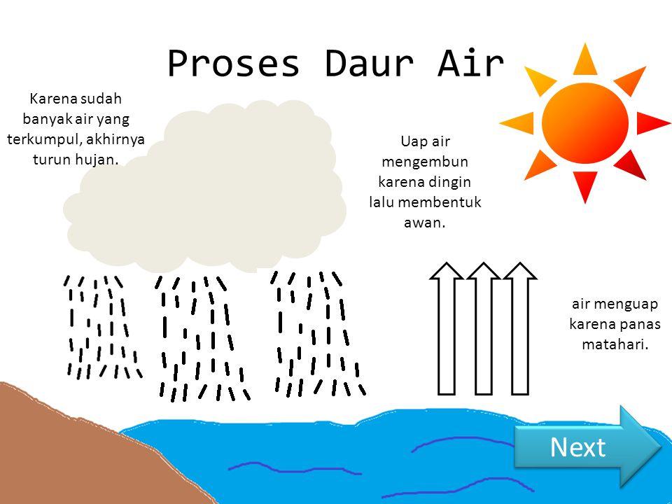 Proses Daur Air Karena sudah banyak air yang terkumpul, akhirnya turun hujan. air menguap karena panas matahari. Uap air mengembun karena dingin lalu