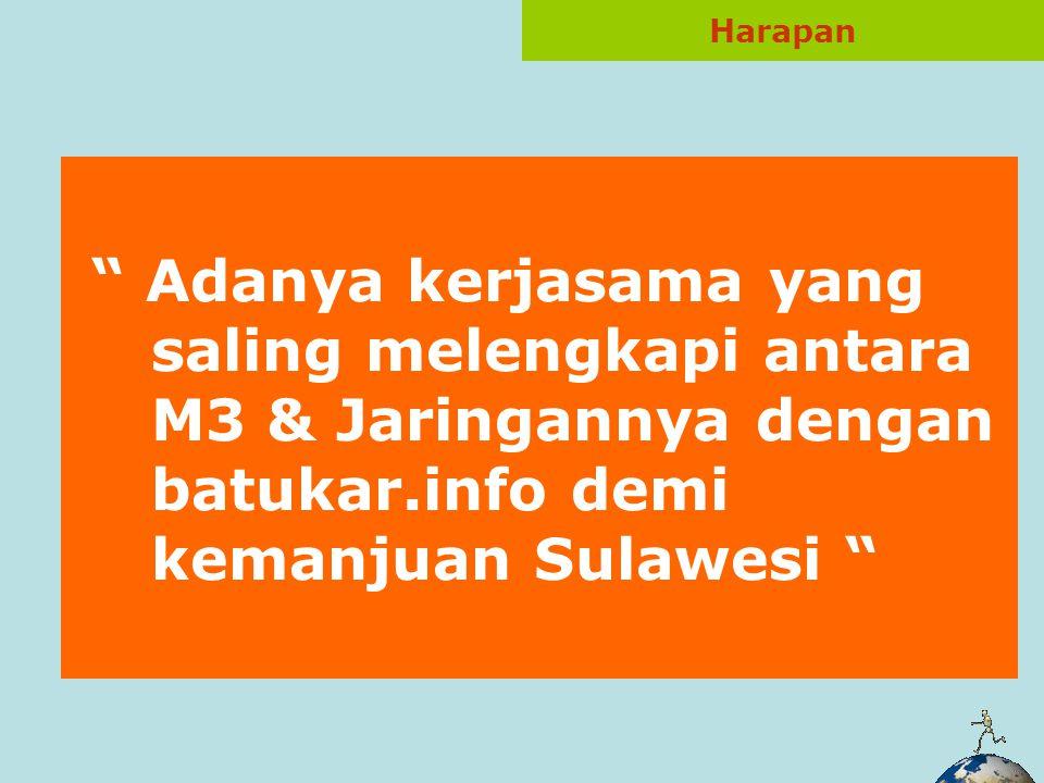 Adanya kegiatan saling mempublikasikan (pertukaran link, promosi dalam produk & kegiatan) Contribusi rutin seputar informasi Sulawesi dari Tim M3 & Jaringannya Kemungkinan kerjasama dalam program & kegiatan (PLH, Workshop, Lounching) & praktek 2 cerdas lainnya… Peluang