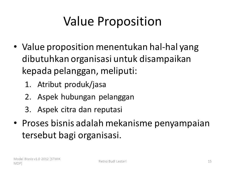 Value Proposition Value proposition menentukan hal-hal yang dibutuhkan organisasi untuk disampaikan kepada pelanggan, meliputi: 1.Atribut produk/jasa