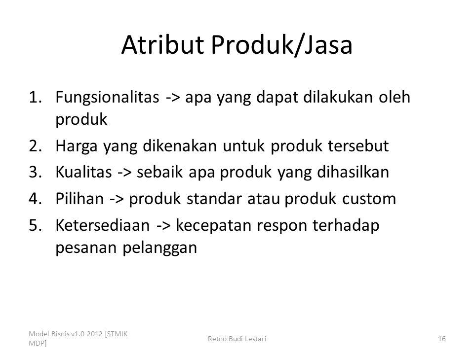 Atribut Produk/Jasa 1.Fungsionalitas -> apa yang dapat dilakukan oleh produk 2.Harga yang dikenakan untuk produk tersebut 3.Kualitas -> sebaik apa pro