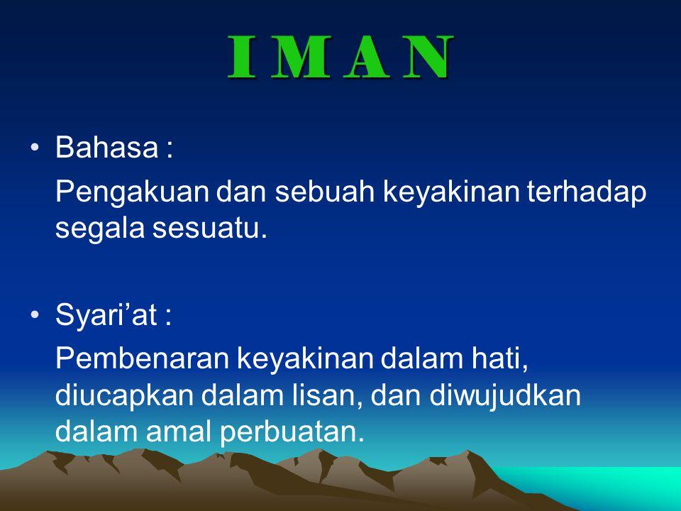 I M A N Bahasa : Pengakuan dan sebuah keyakinan terhadap segala sesuatu.