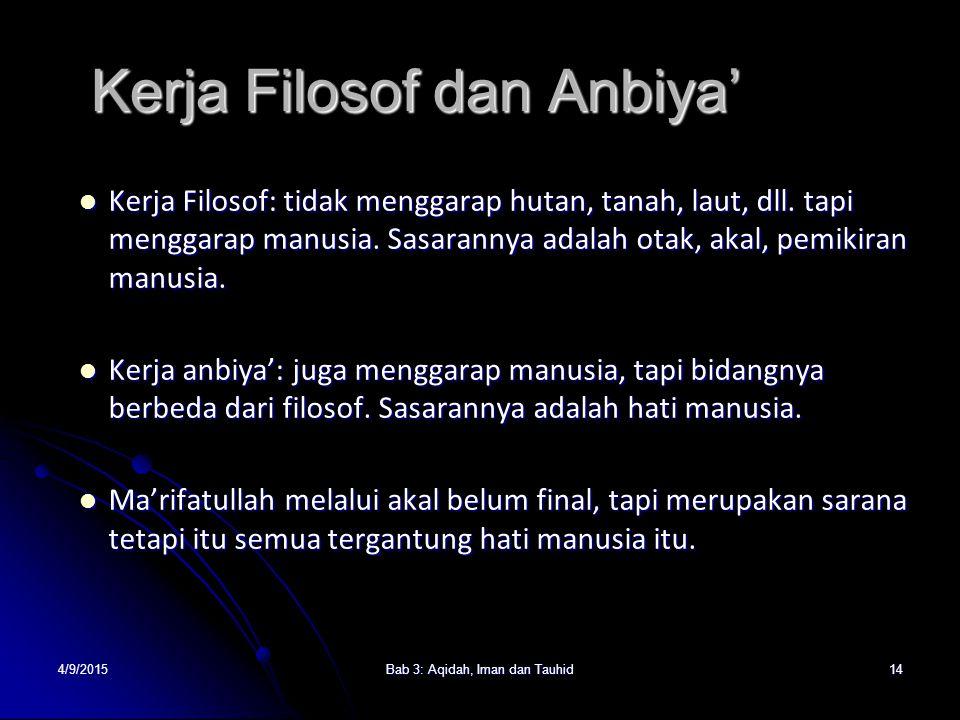 4/9/2015Bab 3: Aqidah, Iman dan Tauhid14 Kerja Filosof dan Anbiya' Kerja Filosof: tidak menggarap hutan, tanah, laut, dll. tapi menggarap manusia. Sas