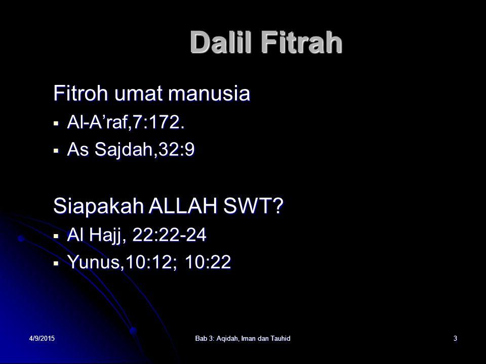 4/9/2015Bab 3: Aqidah, Iman dan Tauhid3 Fitroh umat manusia AAAAl-A'raf,7:172. AAAAs Sajdah,32:9 Siapakah ALLAH SWT? AAAAl Hajj, 22:22-24