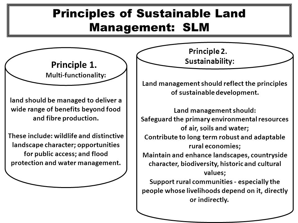 Principles of Sustainable Land Management: SLM land should be managed to deliver a wide range of benefits beyond food and fibre production. These incl