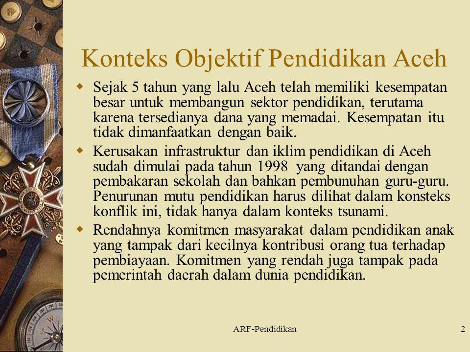 ARF-Pendidikan2 Konteks Objektif Pendidikan Aceh  Sejak 5 tahun yang lalu Aceh telah memiliki kesempatan besar untuk membangun sektor pendidikan, terutama karena tersedianya dana yang memadai.