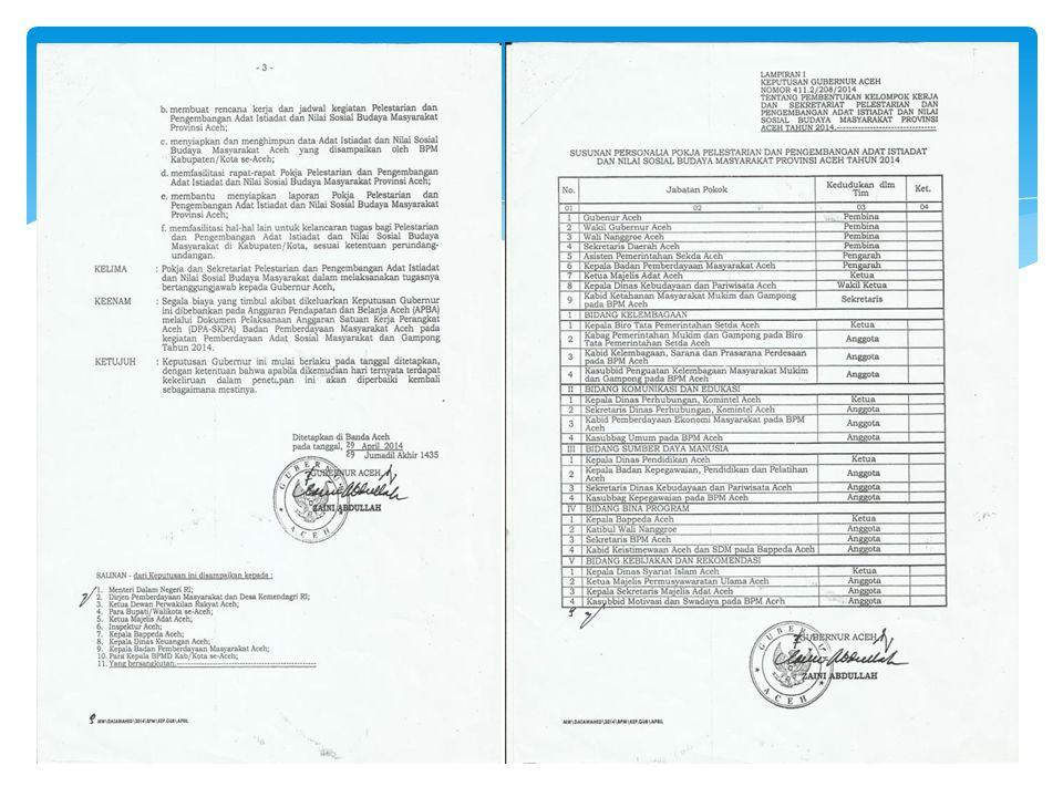 SK POKJA DAN SEKRETARIAT PELESTARIAN DAN PENGEMBANGAN ADAT ISTIADAT DAN NILAI SOSIAL BUDAYA MASYARAKAT PROV. ACEH 2014