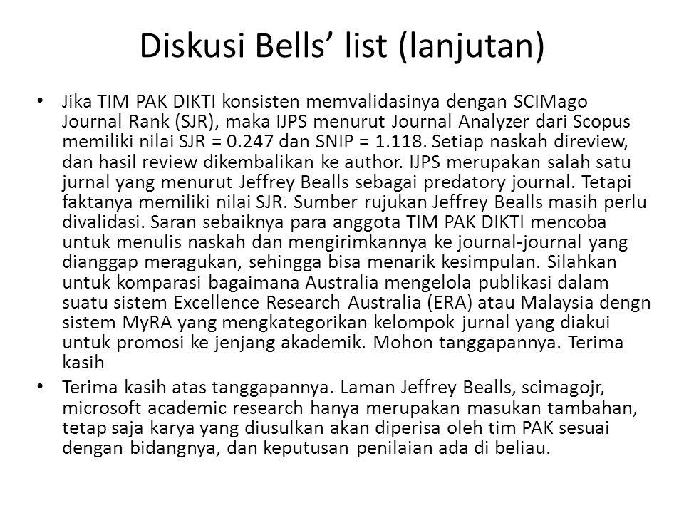 Diskusi Bells' list (lanjutan) Jika TIM PAK DIKTI konsisten memvalidasinya dengan SCIMago Journal Rank (SJR), maka IJPS menurut Journal Analyzer dari Scopus memiliki nilai SJR = 0.247 dan SNIP = 1.118.