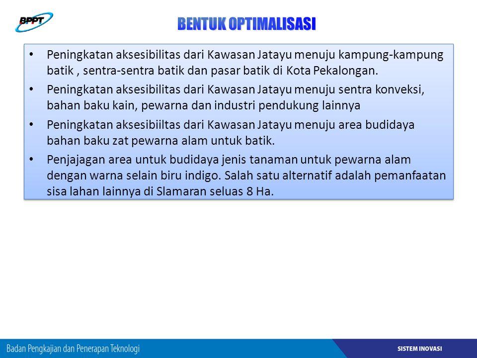 Peningkatan aksesibilitas dari Kawasan Jatayu menuju kampung-kampung batik, sentra-sentra batik dan pasar batik di Kota Pekalongan.